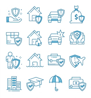 Conjunto de ícones de seguros com estilo de estrutura de tópicos