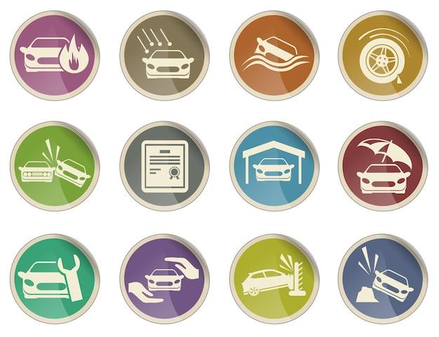Conjunto de ícones de seguros de automóveis