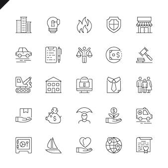 Conjunto de ícones de seguros de linha fina