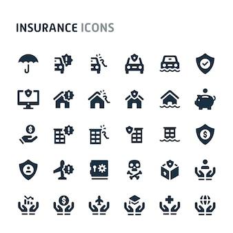 Conjunto de ícones de seguros. série de ícone preto fillio.