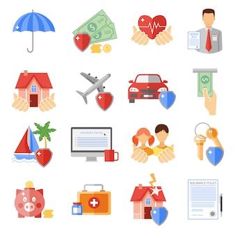 Conjunto de ícones de seguros