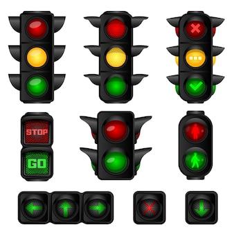 Conjunto de ícones de semáforos. conjunto de desenho animado