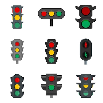 Conjunto de ícones de semáforos