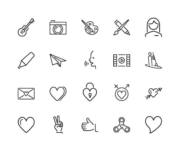 Conjunto de ícones de sentimentos e entretenimento
