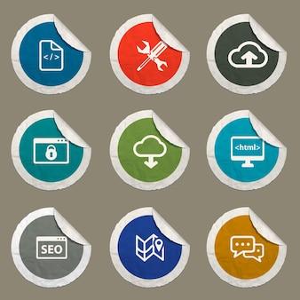 Conjunto de ícones de seo e desenvolvimento para sites e interface do usuário