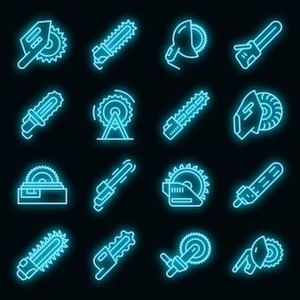 Conjunto de ícones de serras elétricas vetor de néon