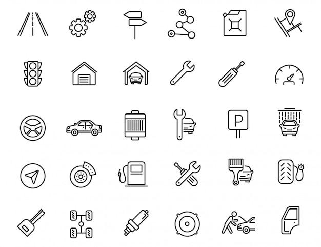 Conjunto de ícones de serviço de carro linear.