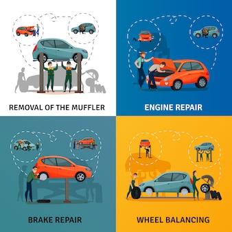 Conjunto de ícones de serviço de carro