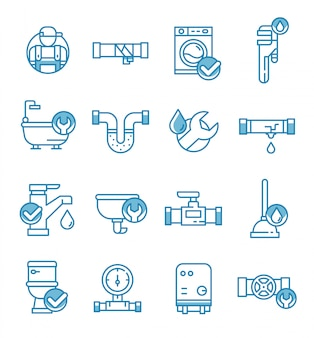 Conjunto de ícones de serviço de encanamento com estilo de estrutura de tópicos