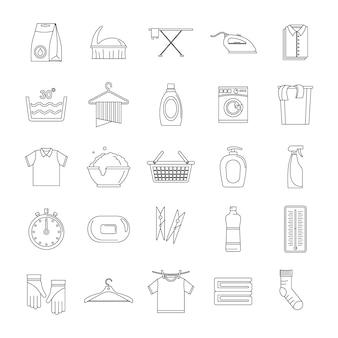 Conjunto de ícones de serviço de lavandaria
