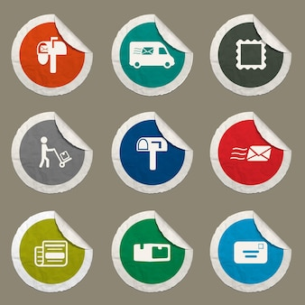 Conjunto de ícones de serviço de postagem para sites e interface do usuário