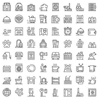 Conjunto de ícones de serviço de quarto, estilo de estrutura de tópicos
