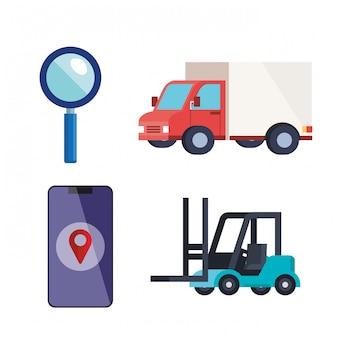 Conjunto de ícones de serviço logístico de entrega