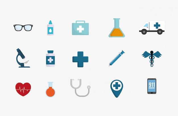 Conjunto de ícones de serviço médico