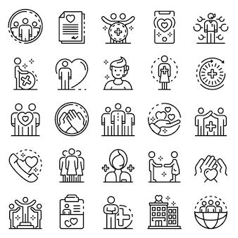 Conjunto de ícones de serviço social