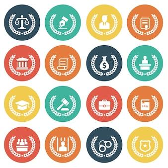 Conjunto de ícones de serviços de direito e advogados