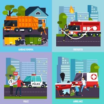 Conjunto de ícones de serviços de emergência