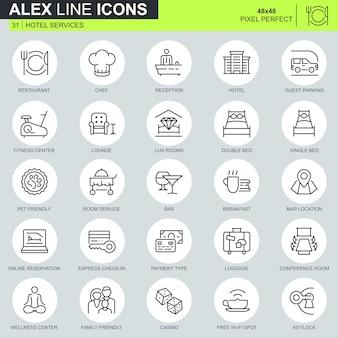 Conjunto de ícones de serviços de hotel de linha fina