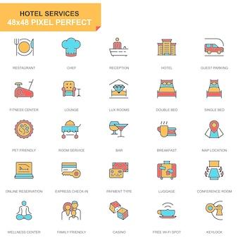Conjunto de ícones de serviços de hotel de linha plana