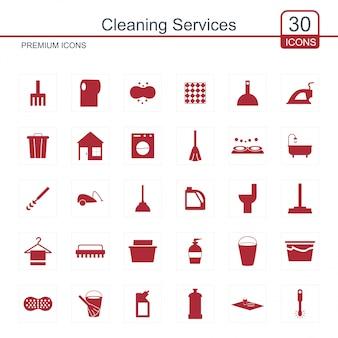 Conjunto de ícones de serviços de limpeza