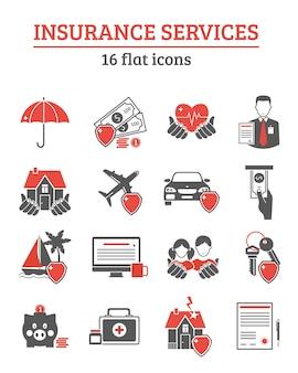 Conjunto de ícones de serviços de seguros