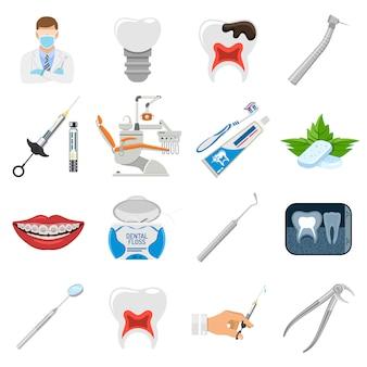 Conjunto de ícones de serviços odontológicos