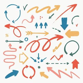 Conjunto de ícones de seta abstratos várias setas de doodle em formas diferentes com textura de grunge