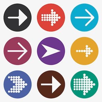 Conjunto de ícones de seta. guias brancas, cursor, botões coloridos com ponteiro. ilustração vetorial.