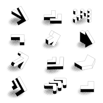 Conjunto de ícones de seta isométrica de estilo cômico retro design plano.