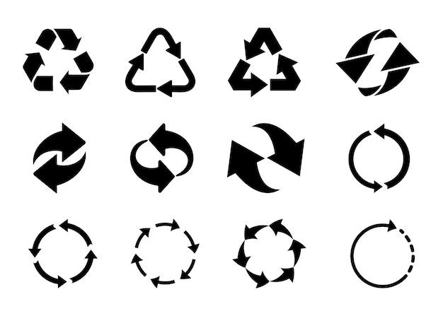 Conjunto de ícones de setas de ciclo reciclado. ilustração vetorial