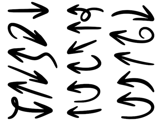 Conjunto de ícones de setas de mão desenhada isolado no branco. Vetor Premium