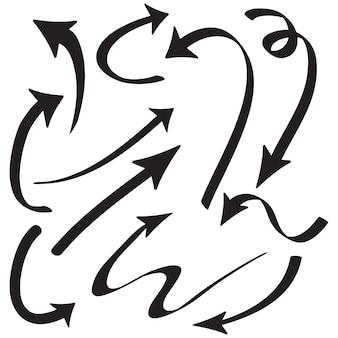 Conjunto de ícones de setas desenhadas à mão isolado no branco