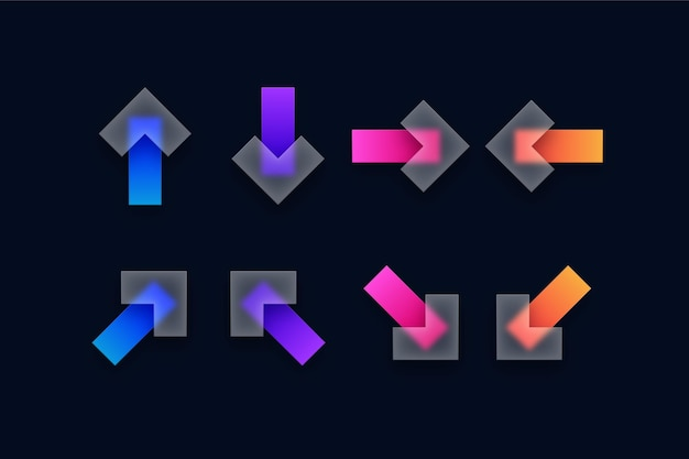Conjunto de ícones de setas transparentes