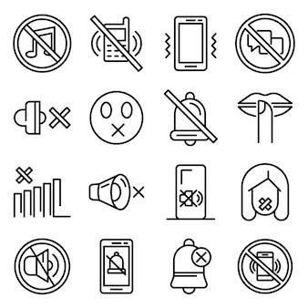 Conjunto de ícones de silêncio, estilo de estrutura de tópicos
