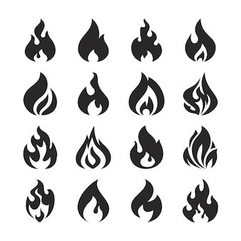 Conjunto de ícones de silhueta de chamas e fogueira de fogo