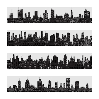 Conjunto de ícones de silhueta de cidade negra isolado