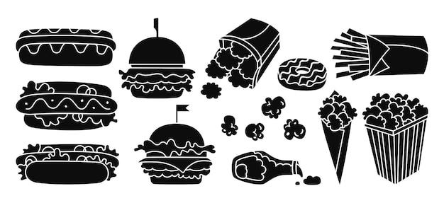 Conjunto de ícones de silhueta de fast food, cachorro-quente, hambúrguer, batata, pepitas, ketchup e pipoca, coleção de glifos