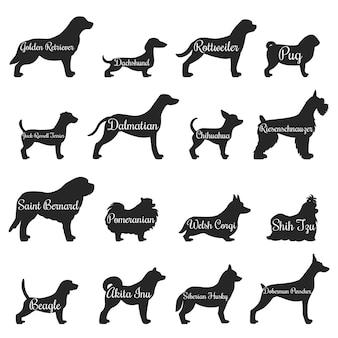 Conjunto de ícones de silhueta de perfil de cães
