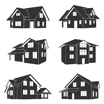 Conjunto de ícones de silhueta em preto e branco de casas