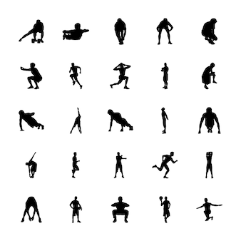 Conjunto de ícones de silhuetas de exercícios de fitness