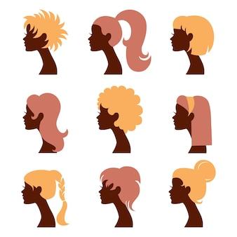 Conjunto de ícones de silhuetas de mulheres