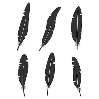 Conjunto de ícones de silhuetas negras de penas isoladas em um fundo branco