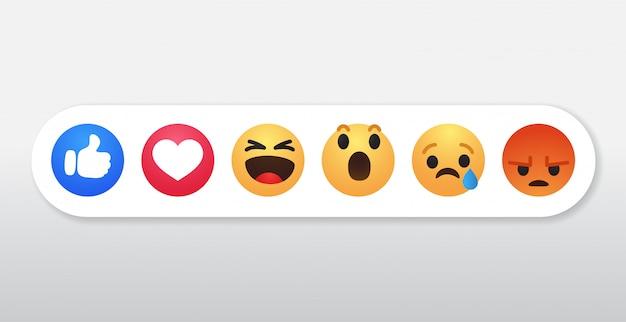Conjunto de ícones de símbolo de reações no facebook