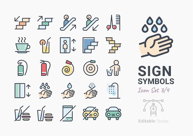 Conjunto de ícones de símbolo de sinal