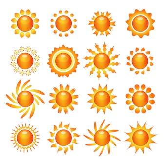 Conjunto de ícones de símbolo do sol