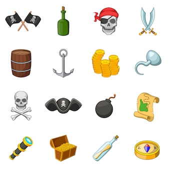 Conjunto de ícones de símbolos de cultura pirata