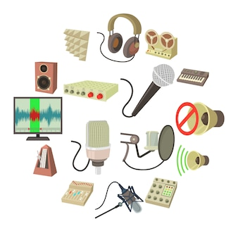 Conjunto de ícones de símbolos de estúdio de gravação, estilo cartoon