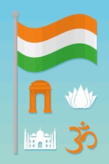 Conjunto de ícones de símbolos indianos