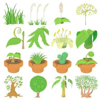 Conjunto de ícones de símbolos verdes natureza
