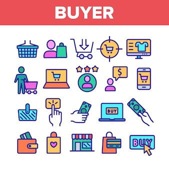 Conjunto de ícones de sinais de elementos do comprador